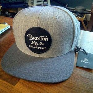 BRIXTON Mfg Co. Grey Snapback Hat